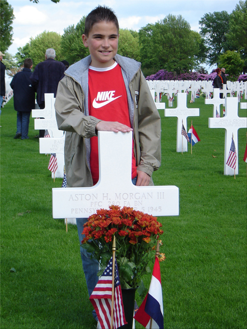 Marvin at the grave of Pfc Aston H. Morgan III